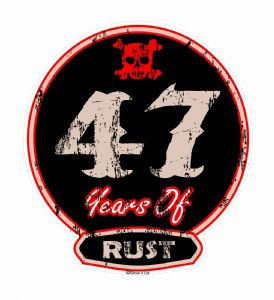 Distressed Aged 47 Years Of Rust Motif For Retro Rat Look VW etc. External Vinyl Car Sticker 100x90mm